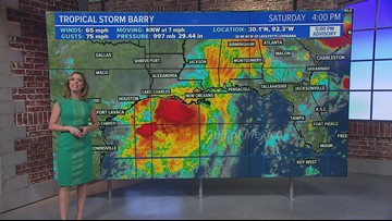 Barry moves over land, significant heavy rain and flood threat