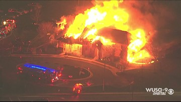 RAW: Large flames shoot out of Centreville building