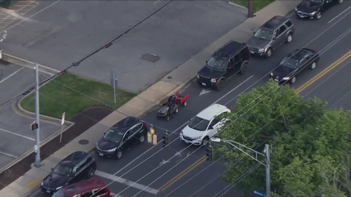 Lawnmower spotted in line for gasoline at Rockville gas station