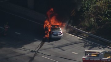 Raw Video: Car engulfed in flames near Colesville Road on I-495