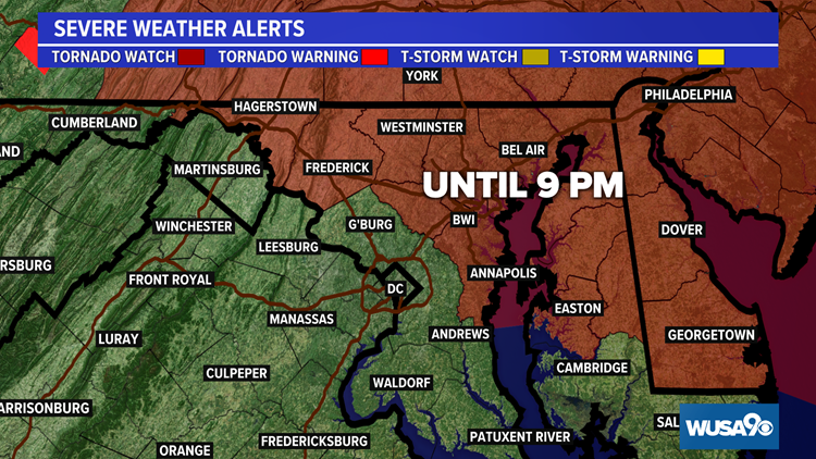 Tornado Watch for much of Maryland. Here's when storms will arrive